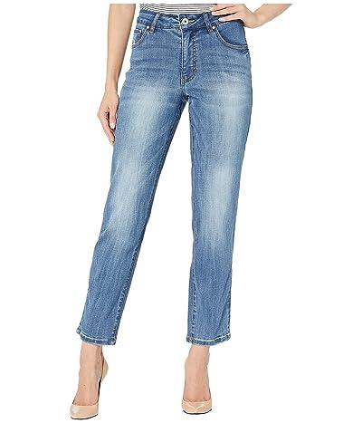 Jag Jeans Reese Vintage Straight Leg Jeans in Crosshatch Denim (Aged Indigo) Women