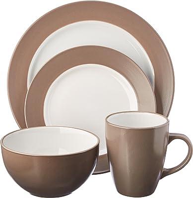 Pfaltzgraff Harmony Taupe 16-Piece Stoneware Dinnerware Set, Service for 4