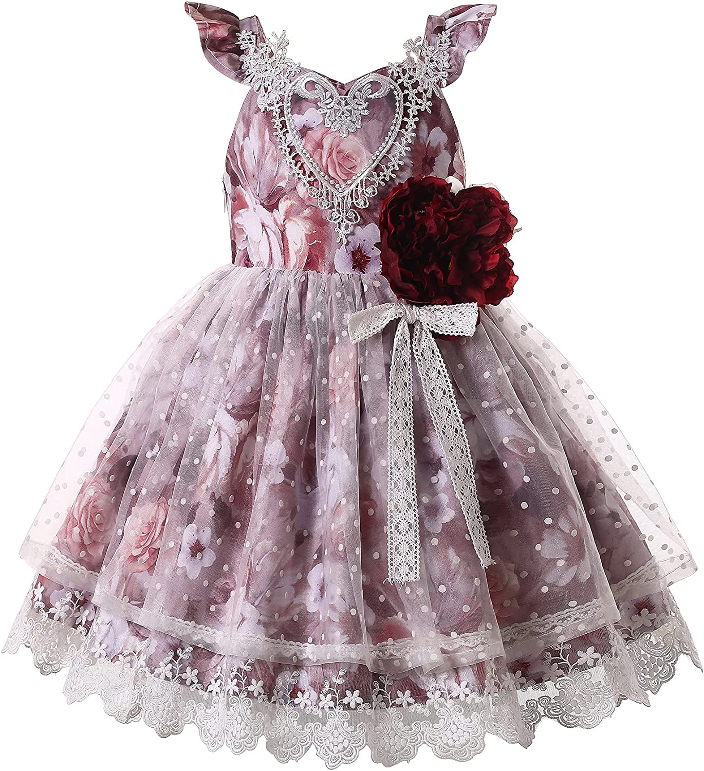 Pettgirl Girl Elegant Fuchsia Floral Lace Ruffle Clothes Kids Toddler Sweet Pageant Prom Party Princess Fashion Dresses