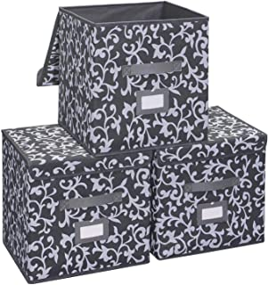 Onlyeasy Fabric Organizer Cube Basket Bin - Large Clothing Fabric Storage Box with Lid for Toys, Clothes, DVDs, Books, Art Craft, 13