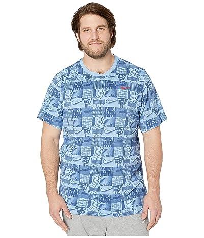 Nike Big Tall Dry Tee Dri-FIT Cotton All Over Print (Light Blue) Men