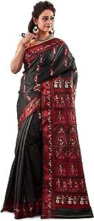 SareesofBengal Women's Katan Silk Meenakari Baluchari/Swarnachari Saree with Blouse Piece (B059, Black and Red)