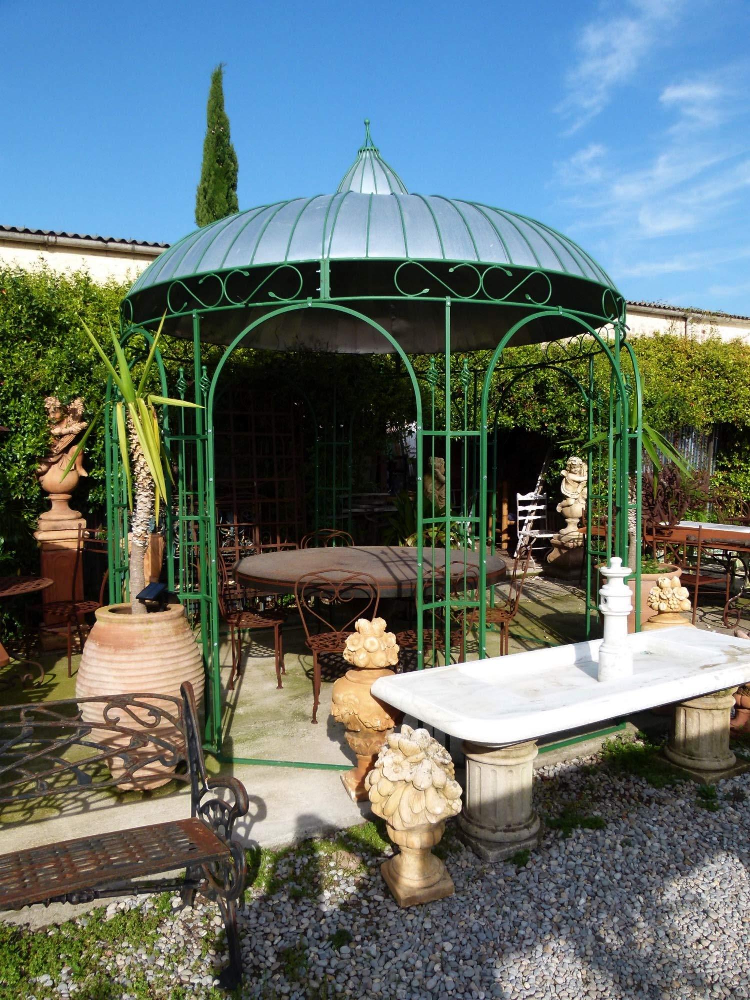 Desconocido Pérgola de Hierro Pintado de Color Verde y Techo de Zinc. Diámetro 320 cm: Amazon.es: Jardín