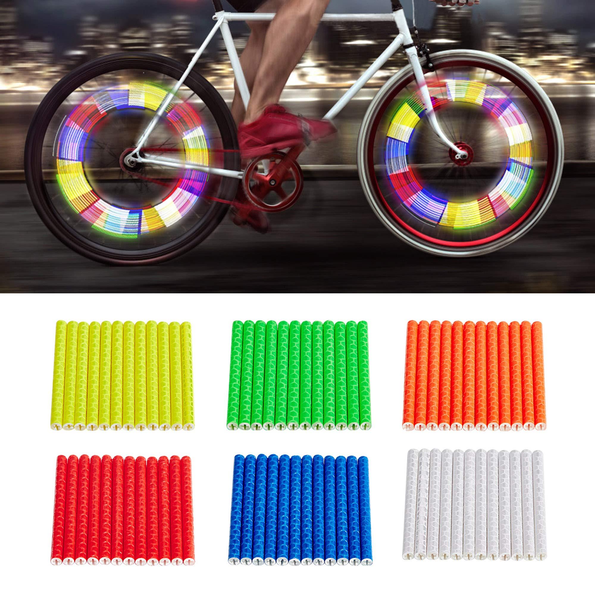12 Bicycle Spoke Reflectors Bike Wheel Clipon Reflective Tubes Cycling Reflector