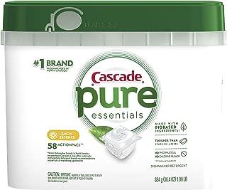 Cascade Pure Essentials Actionpacs Dishwasher Detergent Pods, Lemon Essence, 58 Count