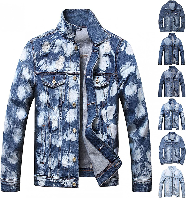JSPOYOU Mens Jean Jacket Classic Ripped Denim Coat Lightweight Slim Fit Jacket Top Blouse