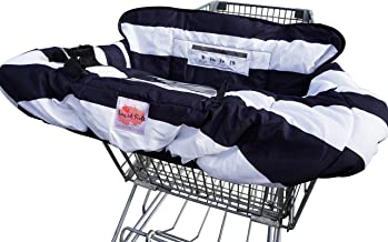 Luxe and Kids Shopping Cart Cover and Highchair cover for baby and toddler - Universal fit, Folds easily - Germ and dirt protection - Machine washable - Soft fabric with navy Design for Girls and Boys