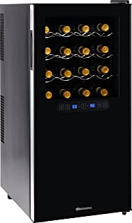 Wine Enthusiast Silent 32 Bottle Wine Refrigerator - Freestanding Touchscreen Dual Zone Wine Cooler, Black w/ Chrome