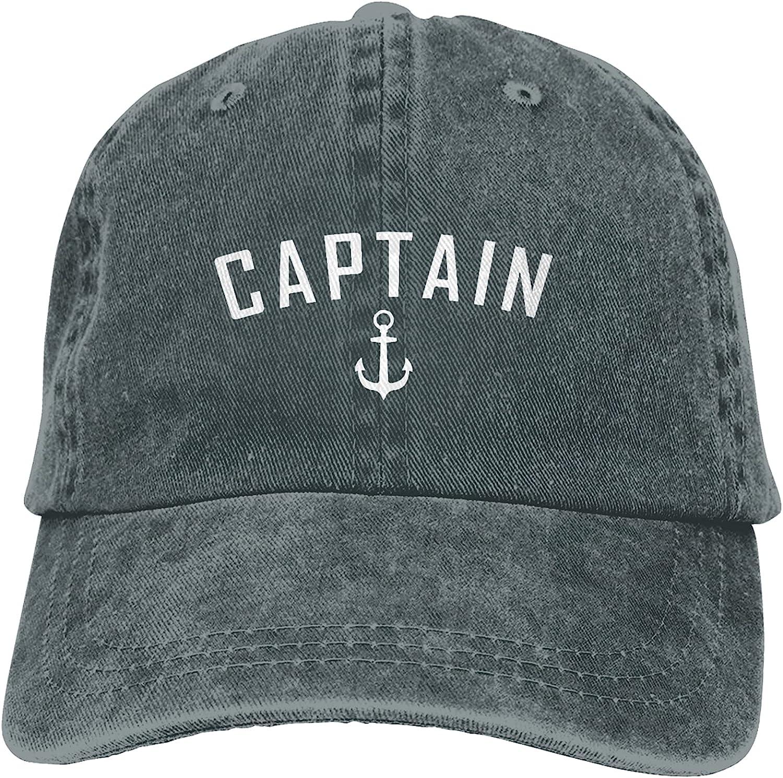 kaixinguo Captain Nautical Quote Baseball Cap,Unisex Adjustable Washed Cotton Denim Cap for Men and Women Gray