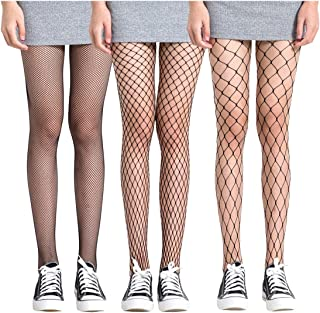 FAYBOX 3 Pack Fishnet Stockings Hollow Stretchy Tights Seamless Sexy Net Pantyhose Women
