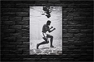 Muhammad Ali Under Water - Framed Canvas Wall Art Print (30in x 45in Framed)