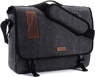 17.3 Inch Laptop Messenger Bag, Vintage Canvas Shoulder Bag for Men by VONXURY