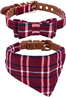 StrawberryEC Puppy Collars for Small Dogs Adjustable Puppy Id Buckle Collar Leather. Cute Plaid Red Bandana Dog Collar