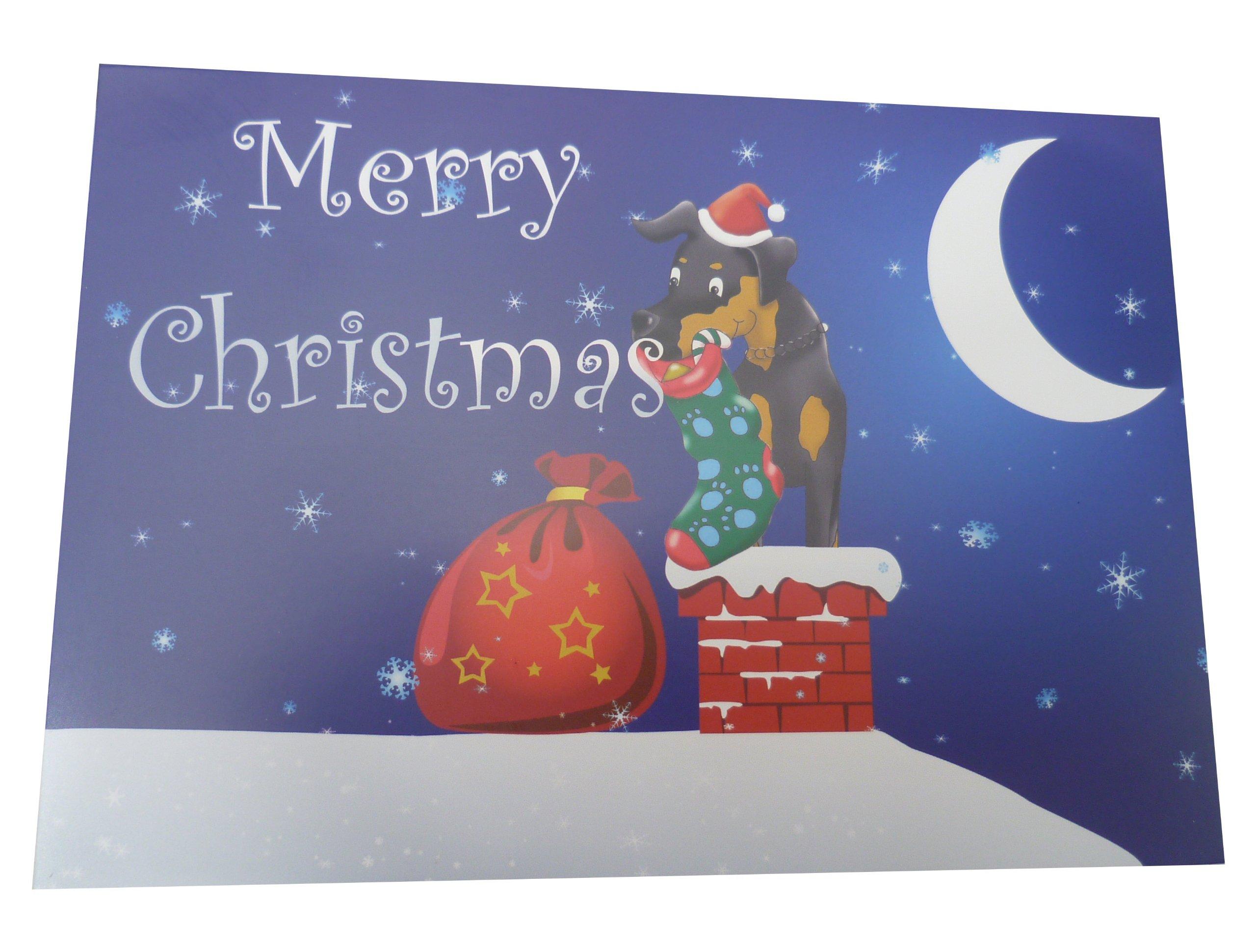 Diseño de techo de dóberman tarjetas de felicitación navideñas (Pack de 10 cartas con): Amazon.es: Hogar