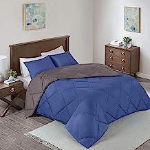 Comfort Spaces Vixie 3 Piece Comforter Set All Season Reversible Goose Down Alternative Stitched Geometrical Pattern Beddi...