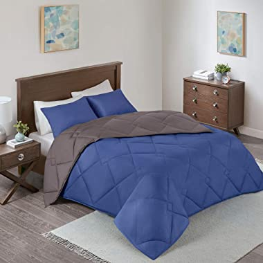 Comfort Spaces Vixie 3 Piece Comforter Set All Season Reversible Goose Down Alternative Stitched Geometrical Pattern Bedding, King, Navy/Charcoal