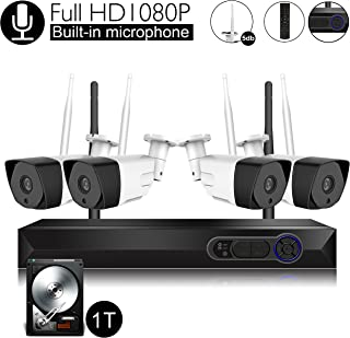 Wireless Security Camera System with Audio Built-in Microphone, CamView 4CH 1080P Wireless Network Video Recorder with 1TB Hard Drive, 4PCS 1080P Indoor/Outdoor IP Camera, P2P, 65ft Night Vision