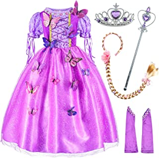 Princess Costume for Girls Party Dress Up with Long Braid and Tiaras Set Age of 3-12 Years