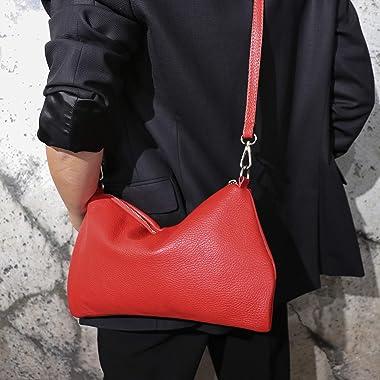 SH Leder Echtleder Umhängetasche mittelgroße schultertasche Abendtasche Clutch Crossbody Bag Messenger Handtasche mit Reißver
