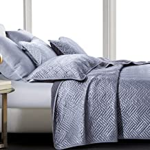 NTBAY Satin Quilt Set, 3 Piece Geometric Pattern Quilted Coverlet Set, Queen, Grey