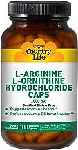 Country Life L-Arginine L-Ornithine Hydrochloride Caps - 180 Vegetarian Capsules - Immune Health - Vitamin B6