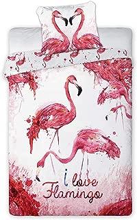 Flamingo Literie gris parure de lit Flamant rose et palmier Ensemble De Literie