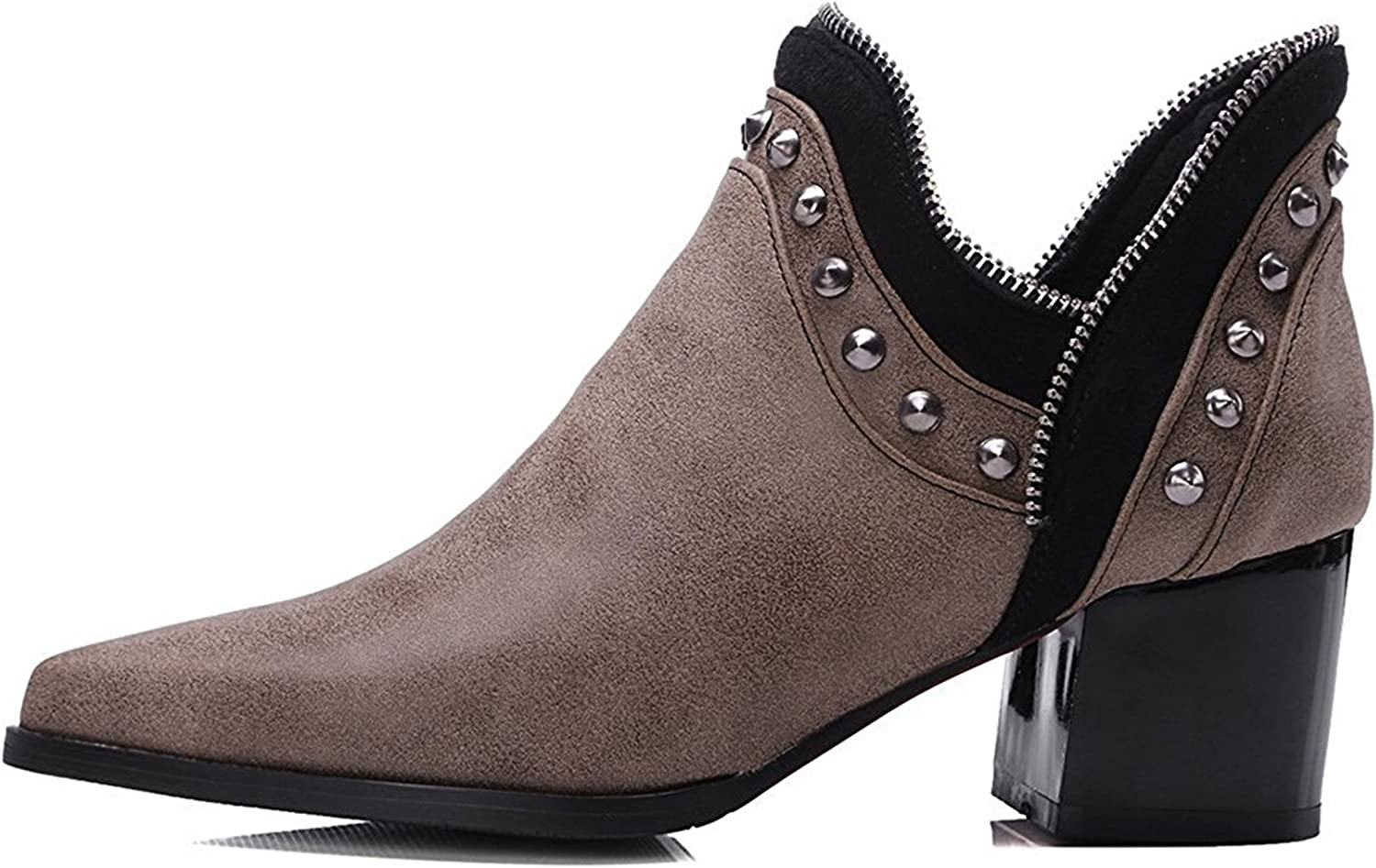 Robert Reyna Fashion Women's Dressy Studded Mid Heels Chunky Pointed Toe Short Boots Motor Booties