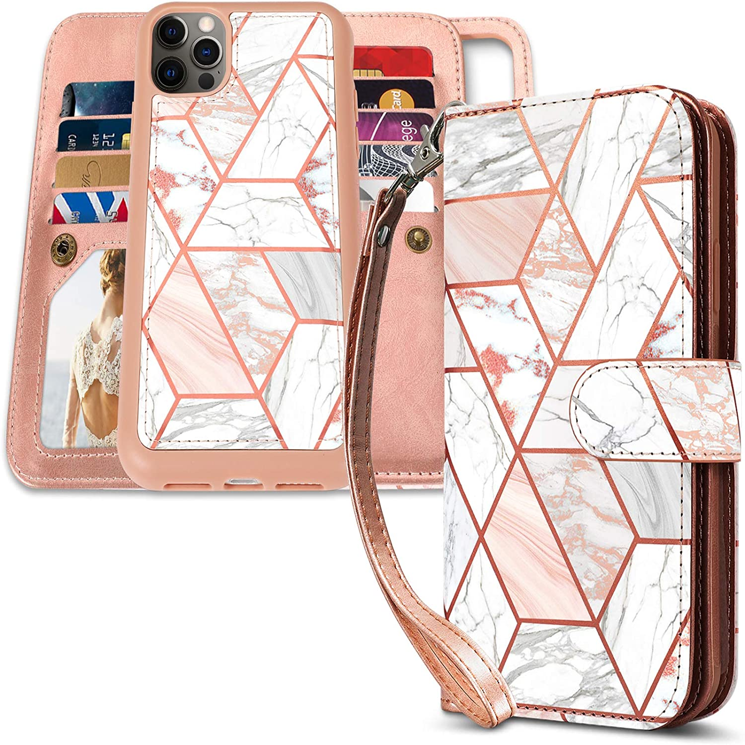 CASEOWL Case Compatible with iPhone 12 Pro Max Wallet Case Magnetic Detachable with 9 Card Slots Holder, Hand Strap, 2 in 1 Folio Flip Premium PU Leather Lanyard Wallet Case 6.7 inch (Marble)