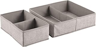 InterDesign Aldo Drawer Tidy and Storage Organizer Box, Set of 2 with 4 Compartments, Linen