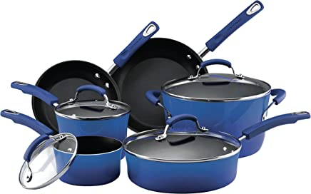 Rachael Ray Classic Brights Hard Enamel Nonstick 10-Piece Cookware Set, Blue Gradient