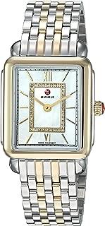 MICHELE Women's Deco Watch Head Swiss-Quartz Stainless-Steel Strap, Two Tone, 16 (Model: MWW06I000024)