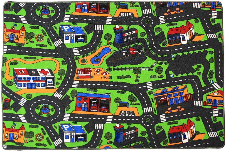 Tappeto Bambini CITT/À 0,95m x 2,00m Tappeto per Bambini con Strade Tappeto con pista macchine per bimbi Tappeto Gioco per Bambini