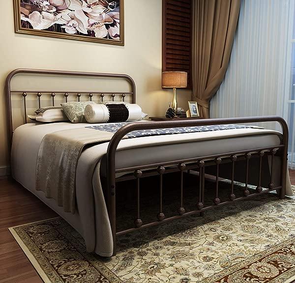 URODECOR 金属床架大号床头板和脚踏板乡村风格的铁艺双人床金属结构仿古青铜棕色烤漆坚固的金属框架优质钢条支撑