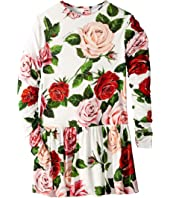 Dolce & Gabbana Kids - Long Sleeve Rose Dress (Big Kids)