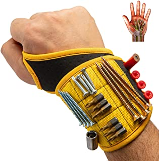 BinyaTools Magnetic Wristband With Super Strong Magnets Holds Screws, Nails, Drill Bit. Unique...