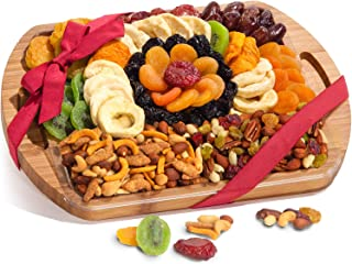 Dried Fruit and Gourmet Snacks Gift on Bamboo Cutting Board Serving Tray with Handles