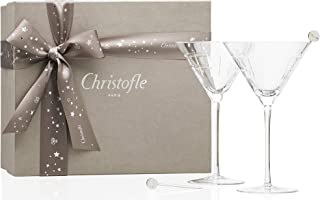 Christofle Gift Box Set of 2 Graphik Crystal Martini Glasses & 2 Silver-Plated Cocktail Sticks #7945282