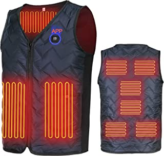 Heated Vest, APP Intelligent Temperature Adjustment Eight Heaters Heated Jacket(Battery Not Included)