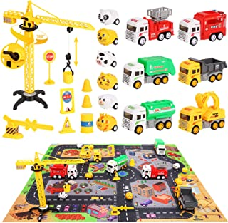 Construction Toys Vehicles Set with City Life Play Mat, Children's Educational Construction Toy Truck for 3 + Boys Girls T...