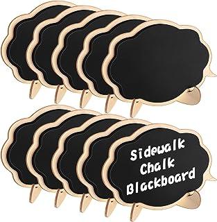 Famistar Mini Thicker Chalkboards Signs,10 PCS Sidewalk Chalk Blackboard Wood Small Message Board Place Cards for Weddings...