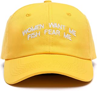 قبعات بيسبول مطرزة للرجال والنساء بعبارة Want Me Fish Fear Me
