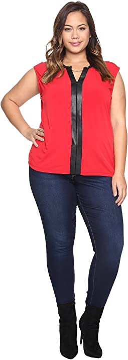 Plus Size Sleeveless Top w/ PU Trim and Chain