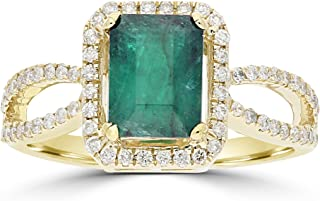 Emerald Diamond Ring Gold in 14K Yellow Gold