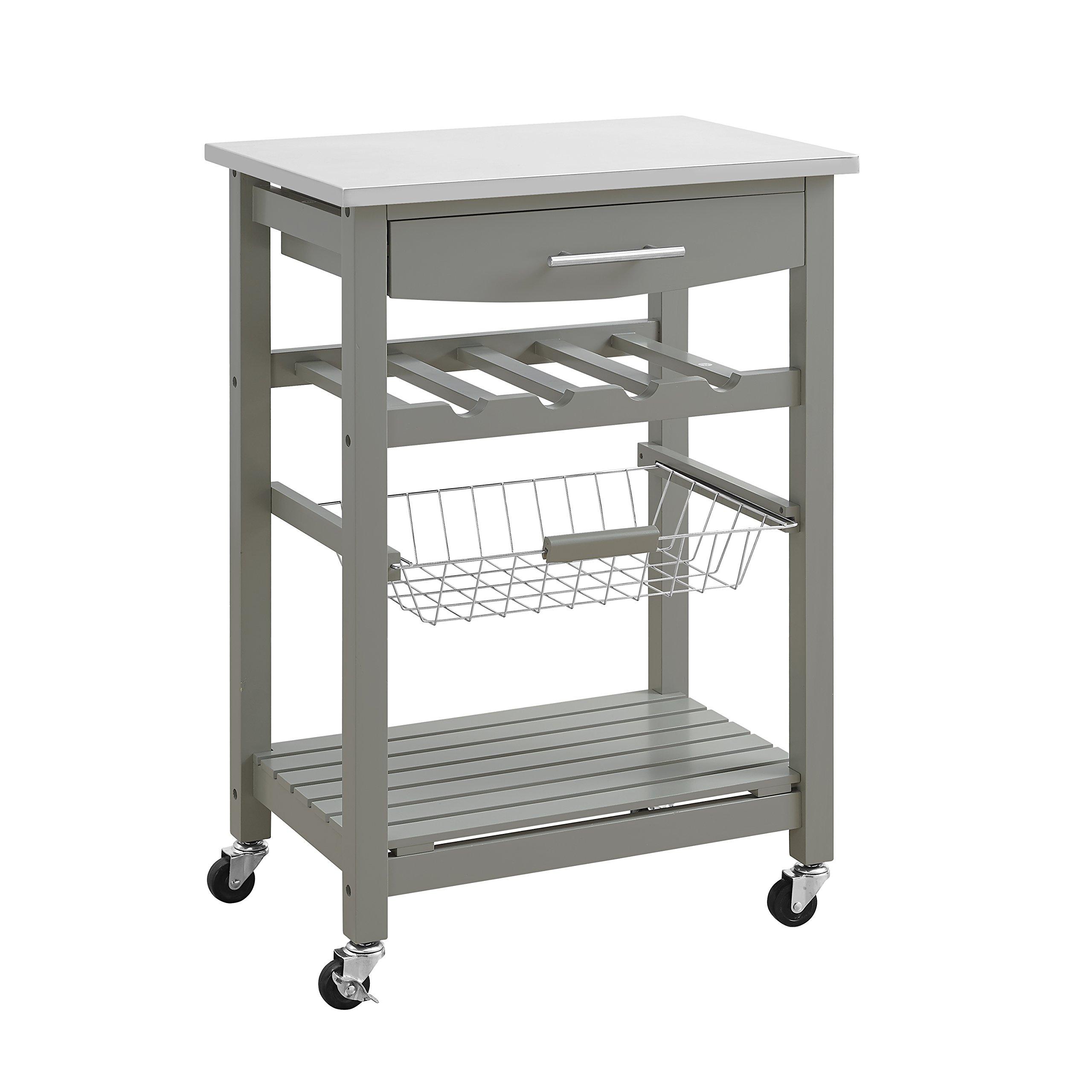 Linon Home Clarke Gray Kitchen Cart