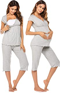 Women Layered Maternity & Nursing Pajama Capri Set Cotton Hospital PJS Set Pregnancy Breastfeeding Sleepwear(S-XXL)