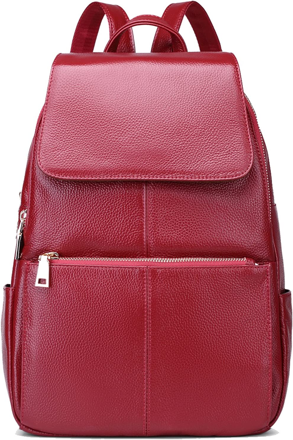 Coolcy Casual Popular product Women Real Backpack Sacramento Mall Wine Leather Genuine
