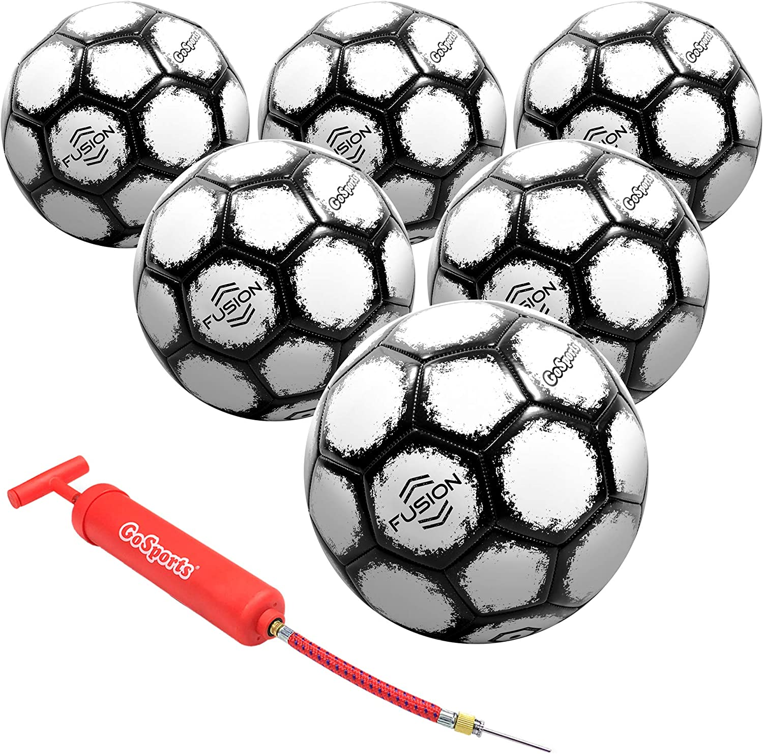 GoSports FUSION Soccer Balls - Top Level Performance - Available as Single Balls or 6 Packs - Includes Pump and Carrying Bag: Sports & Outdoors