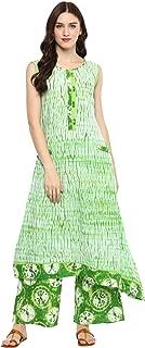 Green Colored Cotton Printed Long Kurta With Palazzo Set