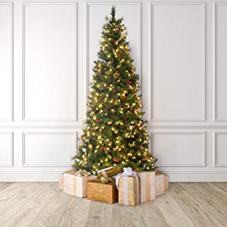 Martha Stewart Pinecone and Berry Pre-Lit Artificial Christmas Tree, 7.5 Feet, Clear Lights