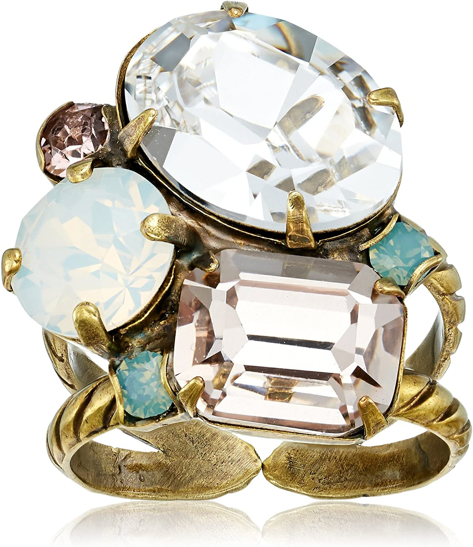 Sorrelli Women's Emerald Cluster Ring, Clear, 1